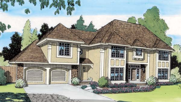 House Plan 20172 | Colonial European Traditional Style Plan with 3024 Sq Ft, 4 Bedrooms, 3 Bathrooms, 2 Car Garage Elevation