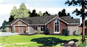 Contemporary Ranch Traditional House Plan 20177 Elevation