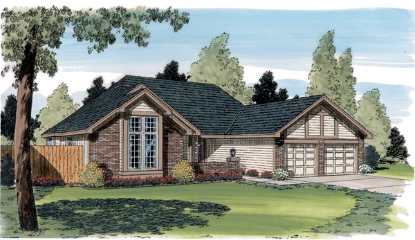 Contemporary, One-Story, Traditional House Plan 20182 with 3 Beds, 2 Baths, 2 Car Garage Elevation
