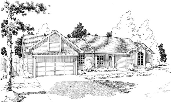 Country, One-Story, Ranch, Retro, Traditional House Plan 20183 with 3 Beds, 2 Baths, 2 Car Garage Elevation