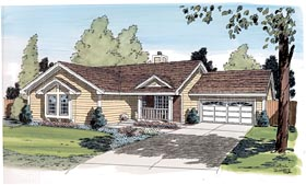 Ranch , Traditional House Plan 20187 with 3 Beds, 2 Baths, 2 Car Garage Elevation