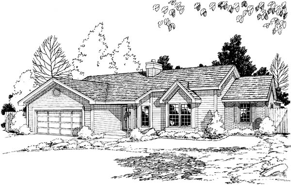 One-Story Ranch Traditional Elevation of Plan 20191