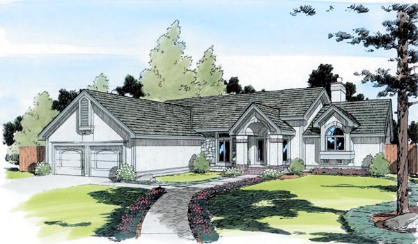 European Ranch Traditional House Plan 20193 Elevation
