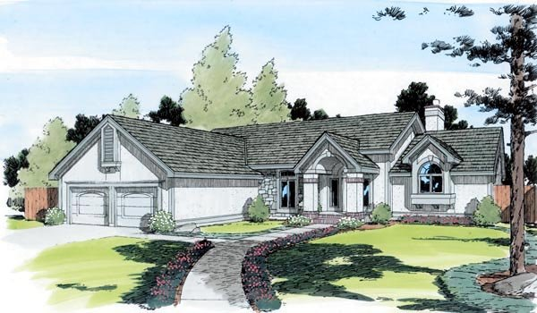 European, One-Story, Ranch, Traditional House Plan 20193 with 3 Beds, 3 Baths, 2 Car Garage Elevation