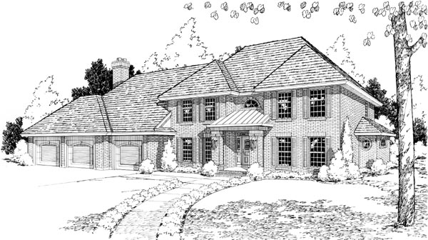 Colonial European Traditional House Plan 20194 Elevation