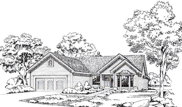 Ranch House Plan 20197 with 3 Beds, 4 Baths, 2 Car Garage Elevation