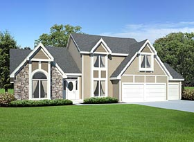 House Plan 20199   European Traditional Tudor Style Plan with 2545 Sq Ft, 4 Bedrooms, 4 Bathrooms, 3 Car Garage Elevation