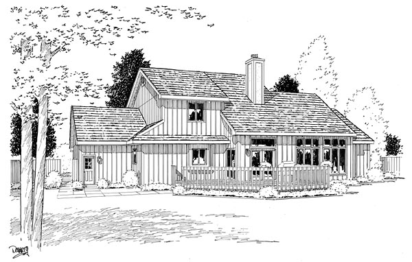 European , Traditional , Tudor House Plan 20199 with 4 Beds, 4 Baths, 3 Car Garage Rear Elevation
