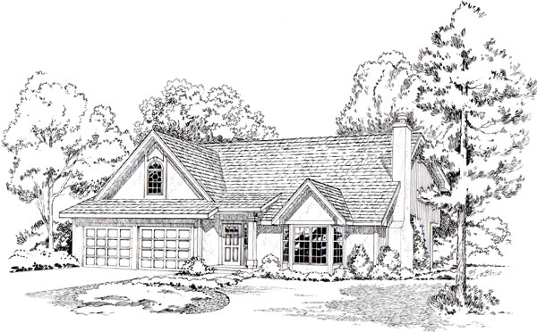 European, Traditional House Plan 20208 with 3 Beds, 3 Baths, 2 Car Garage Elevation