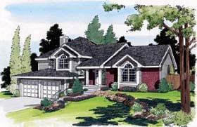 House Plan 20209 | Traditional Style Plan with 2387 Sq Ft, 3 Bedrooms, 3 Bathrooms, 2 Car Garage Elevation