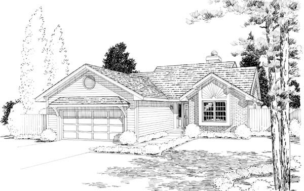 Bungalow Ranch Traditional House Plan 20215 Elevation