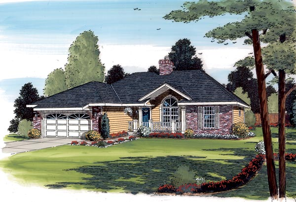 Country Ranch Traditional House Plan 20220 Elevation