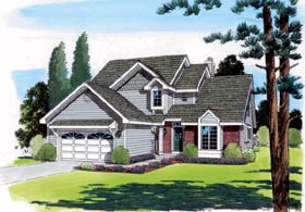 Traditional House Plan 20221 with 4 Beds, 3 Baths, 2 Car Garage Elevation