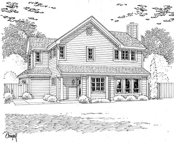 Traditional Rear Elevation of Plan 20226