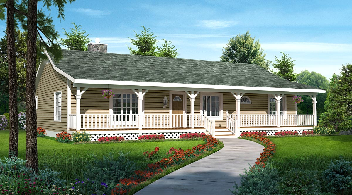 Country Ranch Traditional House Plan 20227 Elevation