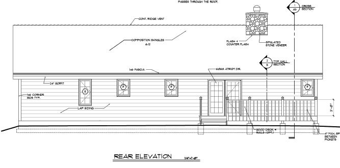 Country Ranch Traditional House Plan 20227 Rear Elevation