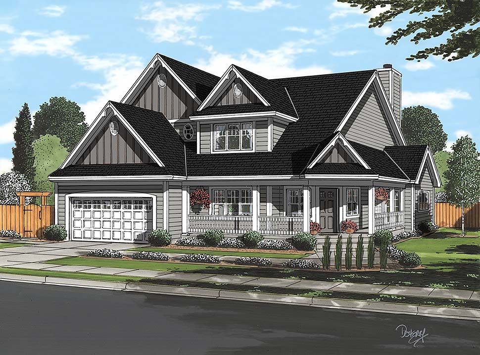 Country Farmhouse Southern Traditional House Plan 20228 Elevation