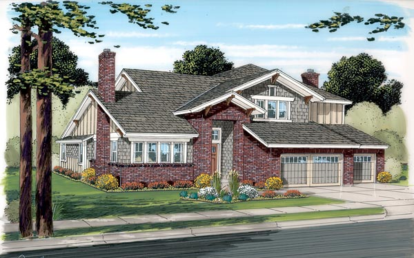 Craftsman European House Plan 20229 Elevation