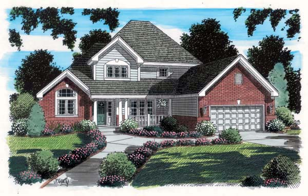 House Plan 20231 | Country Farmhouse Traditional Style Plan with 2257 Sq Ft, 4 Bedrooms, 3 Bathrooms, 2 Car Garage Elevation