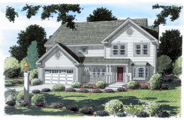 Country, Traditional House Plan 20232 with 4 Beds, 3 Baths, 2 Car Garage Elevation