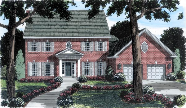 Colonial House Plan 20233 with 4 Beds, 3 Baths, 2 Car Garage Elevation