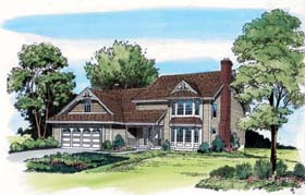 House Plan 20351 | Country Traditional Style Plan with 2313 Sq Ft, 3 Bedrooms, 3 Bathrooms, 2 Car Garage Elevation