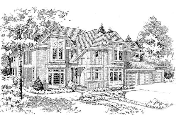 European Tudor House Plan 20356 Elevation