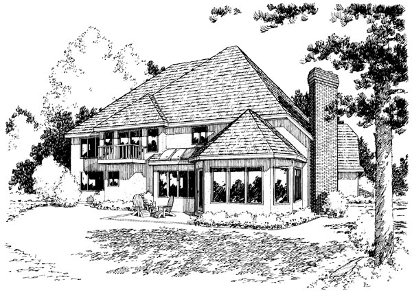 European Traditional House Plan 20359 Rear Elevation