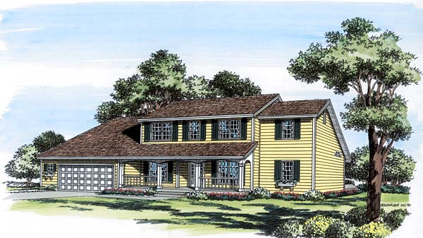 Colonial Country Saltbox House Plan 20404 Elevation