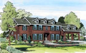 House Plan 20405 | Colonial Traditional Style Plan with 3658 Sq Ft, 5 Bedrooms, 5 Bathrooms, 2 Car Garage Elevation