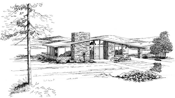 Contemporary, Retro House Plan 21122 with 2 Beds, 1 Baths, 1 Car Garage Front Elevation