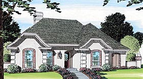 European , One-Story , Ranch , Traditional House Plan 22004 with 4 Beds, 3 Baths, 2 Car Garage Elevation