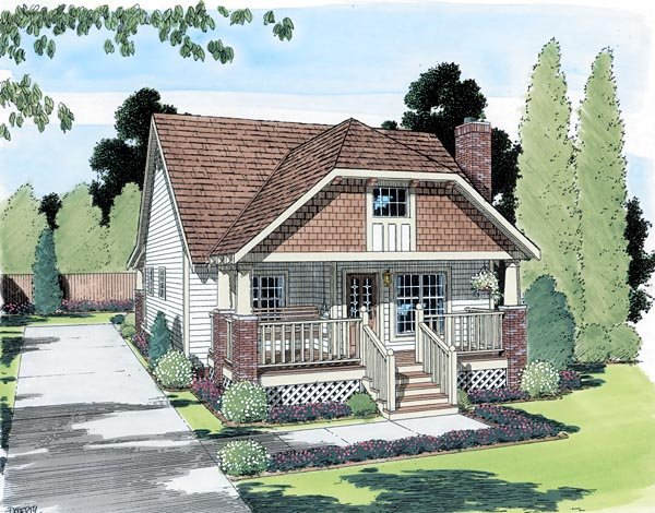 Bungalow, Country, One-Story House Plan 24240 with 2 Beds, 2 Baths Elevation