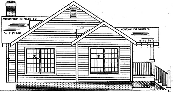 Bungalow, Country, Craftsman, One-Story House Plan 24241 with 3 Beds , 2 Baths Rear Elevation