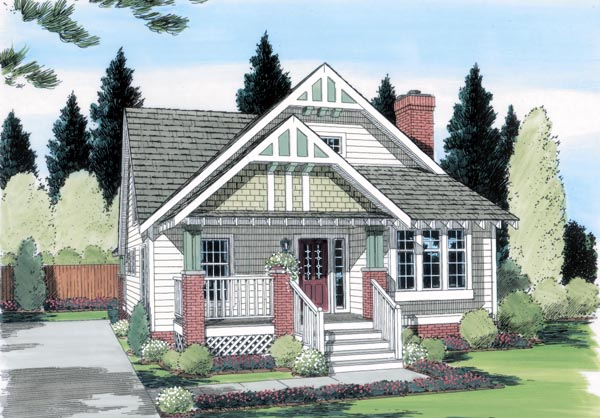 Bungalow , Craftsman , Elevation of Plan 24242