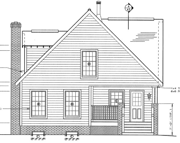 Bungalow , Craftsman , Rear Elevation of Plan 24242