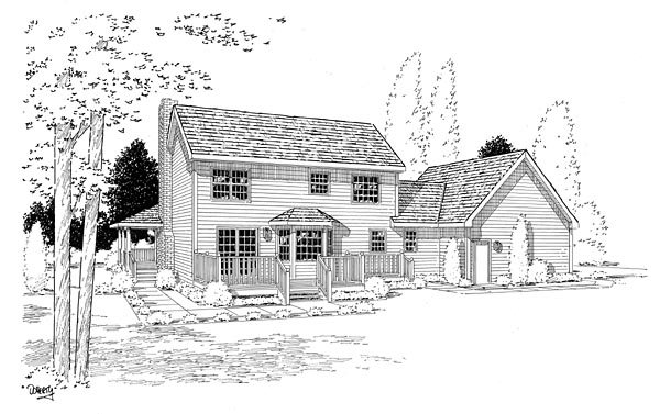 Country Farmhouse Southern Rear Elevation of Plan 24245