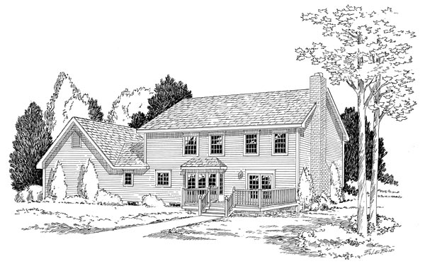 Colonial Traditional House Plan 24246 Rear Elevation