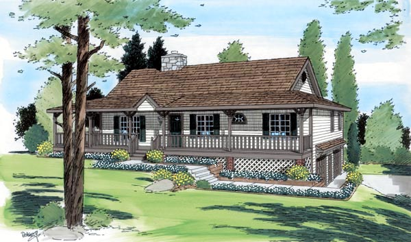 Country Ranch House Plan 24249 Elevation