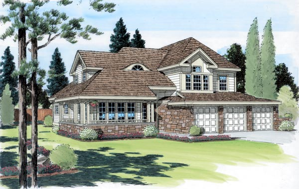 Bungalow Country European Traditional House Plan 24252 Elevation