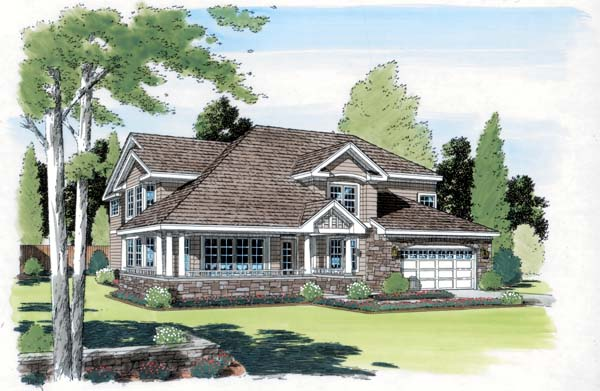 Bungalow Country European Traditional House Plan 24253 Elevation