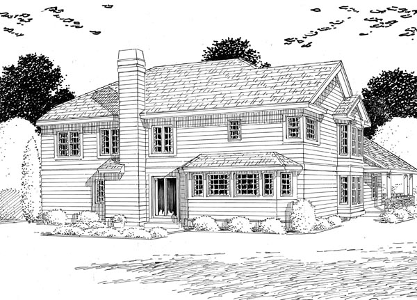 Bungalow Country European Traditional House Plan 24253 Rear Elevation