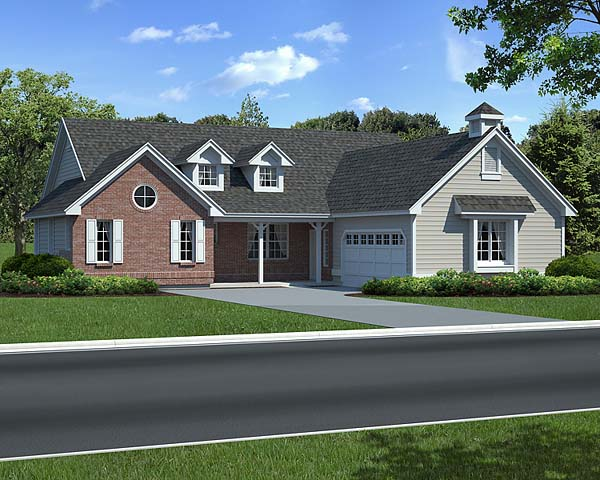 Country, One-Story, Ranch, Traditional House Plan 24254 with 3 Beds, 2 Baths, 2 Car Garage Elevation