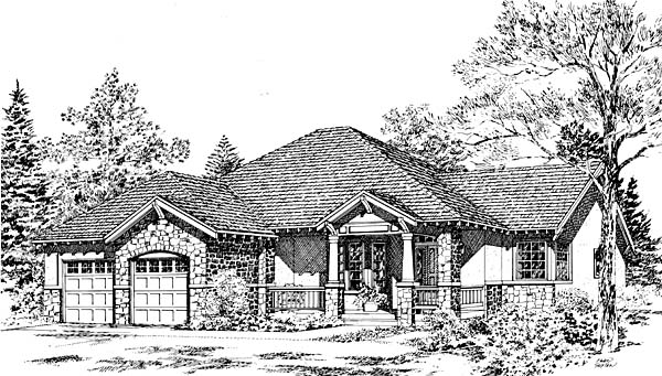 Bungalow Craftsman Traditional House Plan 24260 Elevation