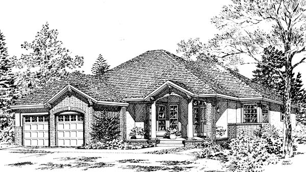 House Plan 24261 | Bungalow European Southwest Traditional Style Plan with 2010 Sq Ft, 3 Bedrooms, 2 Bathrooms Elevation