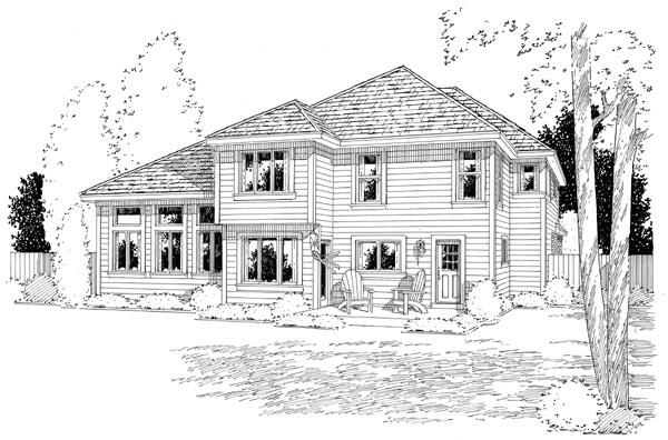Bungalow Craftsman European House Plan 24262 Rear Elevation
