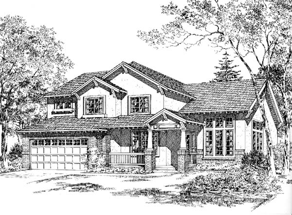 Bungalow Craftsman Mediterranean Traditional House Plan 24263 Elevation