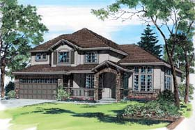 French Country , European , Craftsman House Plan 24264 with 4 Beds, 3 Baths, 2 Car Garage Elevation
