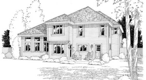 Craftsman European French Country House Plan 24264 Rear Elevation