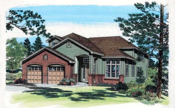 Contemporary , European , Traditional , Elevation of Plan 24265